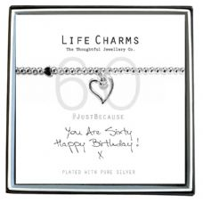 "Life Charms Bracelet - "" You Are SIXTY, Happy Birthday! x "" - Beautifully Gift Boxed"
